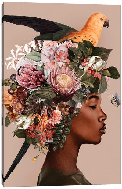 Woman And Flowers IV Canvas Art Print