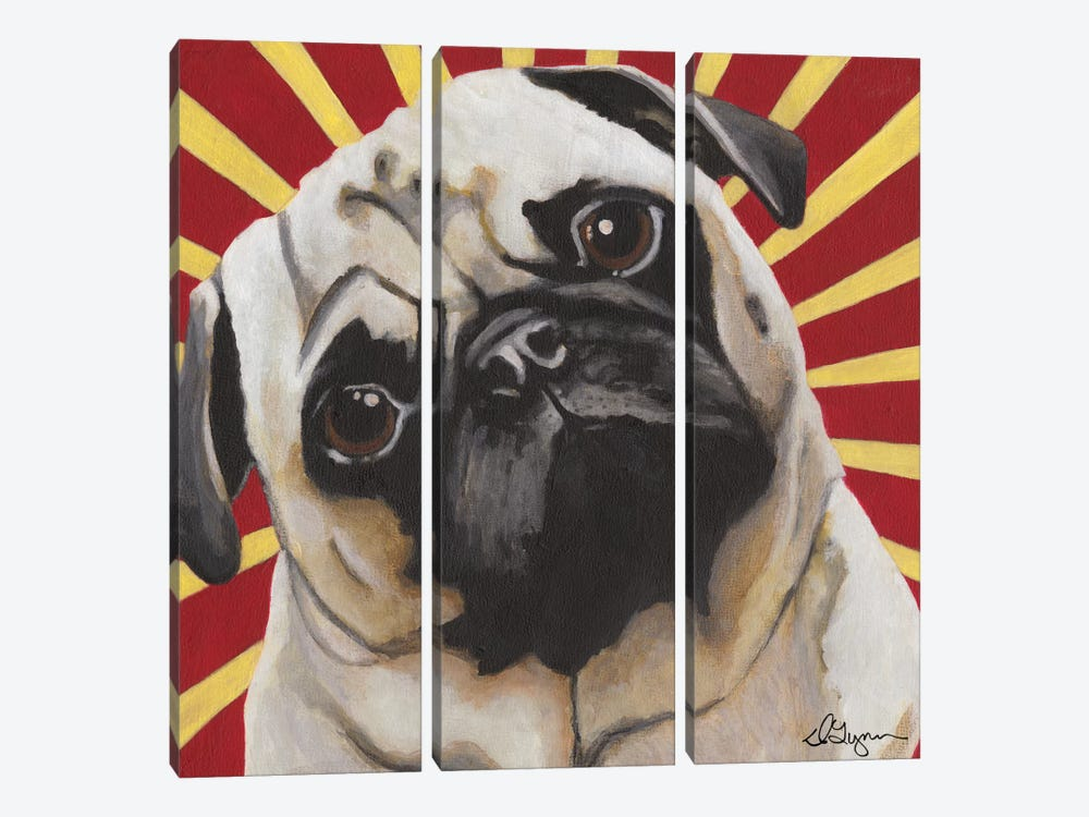 Puggins by Dlynn Roll 3-piece Canvas Art Print