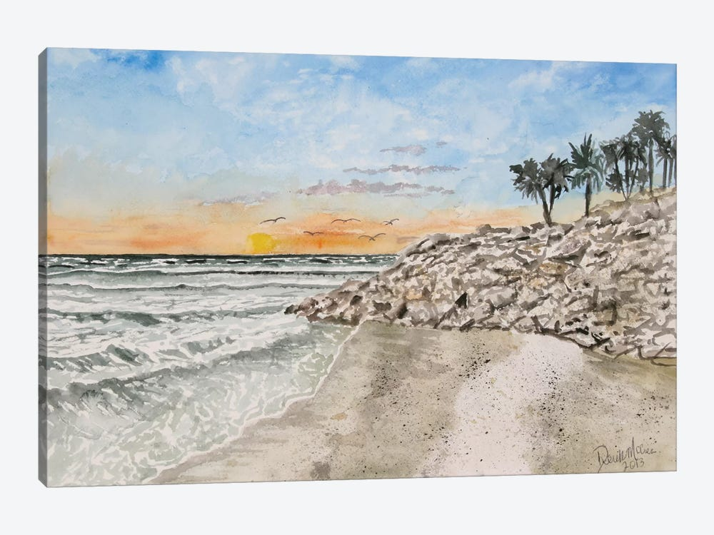 Bradenton Beach Painting by Derek McCrea 1-piece Canvas Wall Art