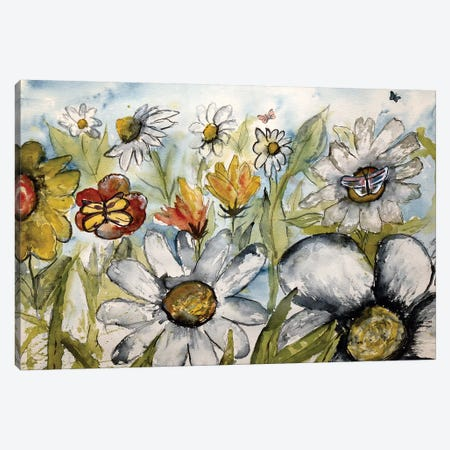 Butterflies And Flowers Canvas Print #DMC12} by Derek McCrea Canvas Artwork