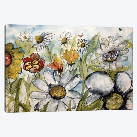Butterflies And Flowers Canvas Print #DMC12} by Derek McCrea Canvas Artwork