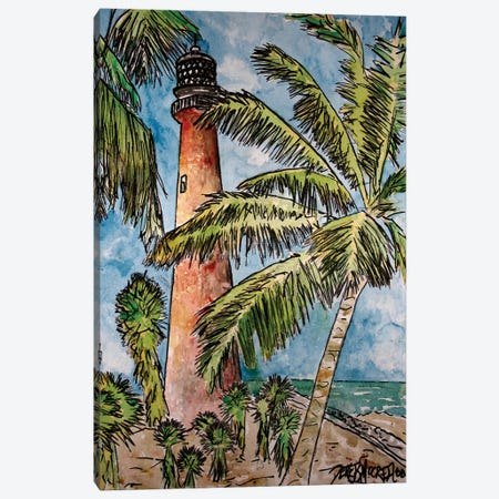Cape Florida Lighthouse 3-Piece Canvas #DMC15} by Derek McCrea Canvas Print