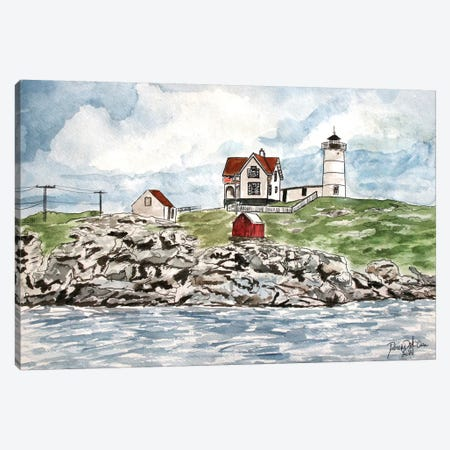 Cape Neddick Lighthouse Canvas Print #DMC16} by Derek McCrea Art Print