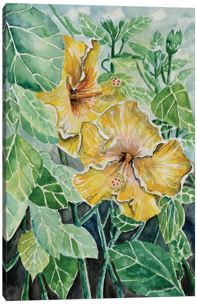 Hibiscus Flowers Tropical Canvas Art Print