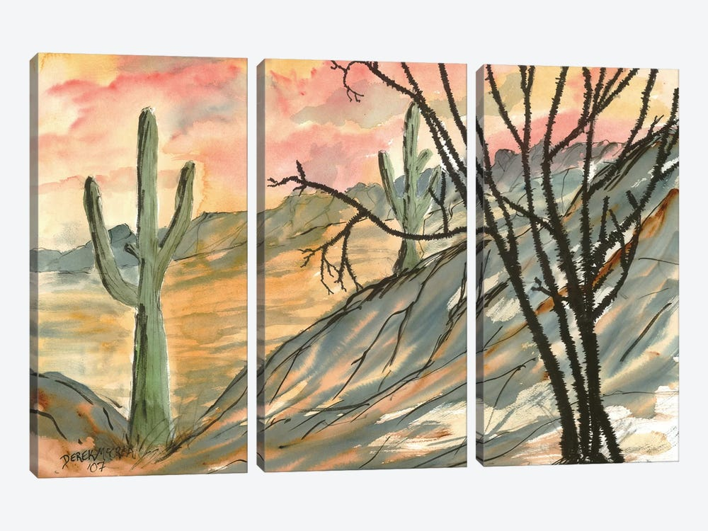 Arizona Evening, Southwest by Derek McCrea 3-piece Canvas Print