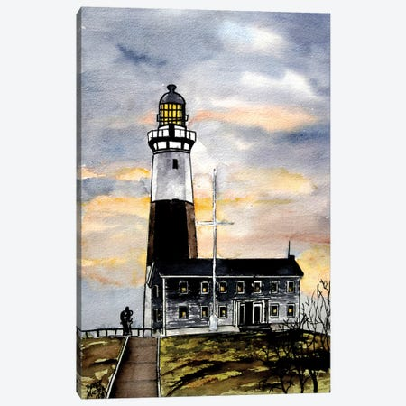 Montauk Point Lighthouse Canvas Print #DMC53} by Derek McCrea Canvas Artwork