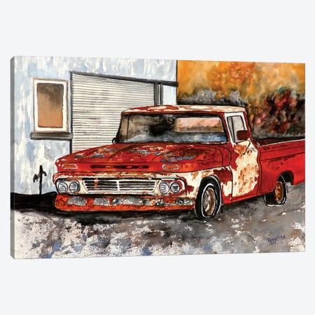 Old Chevy Truck 3-Piece Canvas #DMC55} by Derek McCrea Art Print