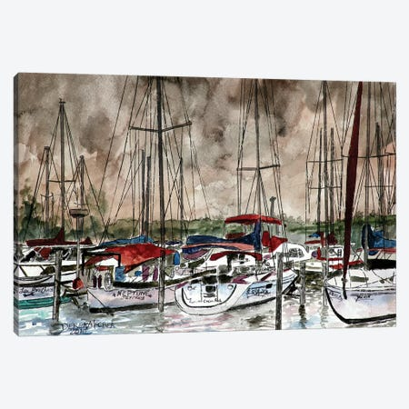 Sailboats At Night Canvas Print #DMC67} by Derek McCrea Canvas Art