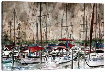 Sailboats At Night Canvas Art Print