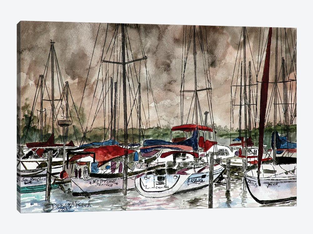 Sailboats At Night by Derek McCrea 1-piece Art Print
