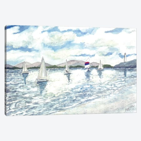 Sailboats Seascape 3-Piece Canvas #DMC68} by Derek McCrea Canvas Art Print