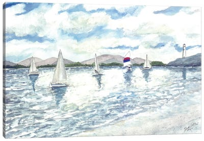 Sailboats Seascape Canvas Art Print