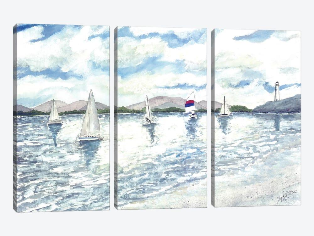 Sailboats Seascape by Derek McCrea 3-piece Canvas Artwork