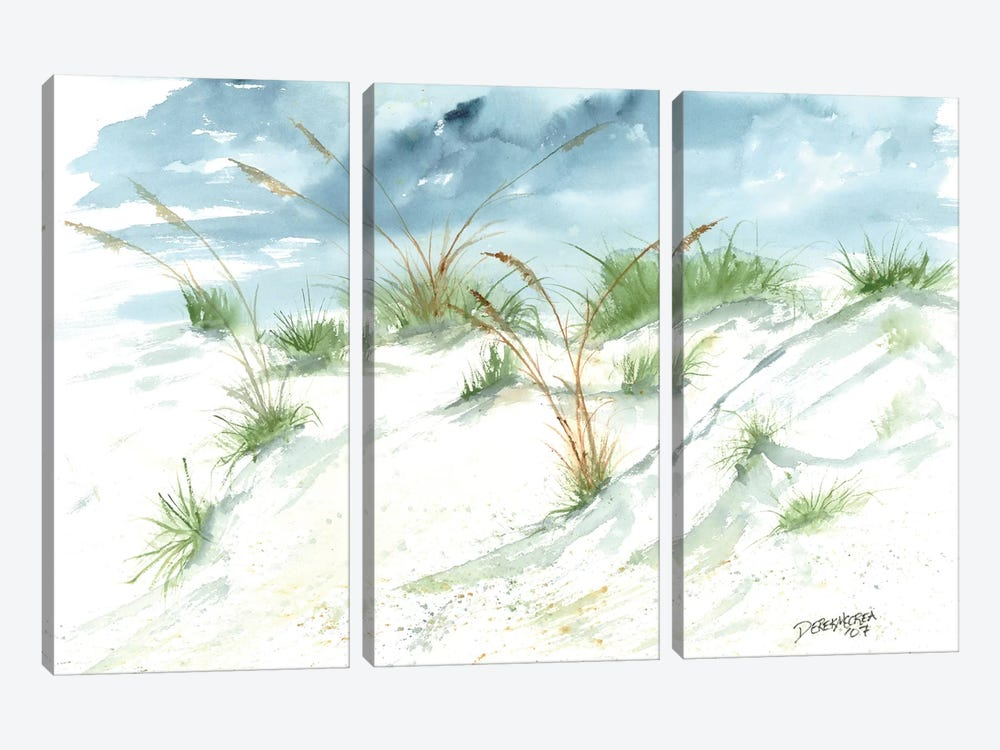Sand Dunes Beach Painting by Derek McCrea 3-piece Canvas Print