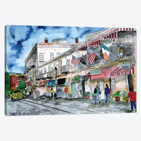 Savannah River Street Painting Canvas Print #DMC72} by Derek McCrea Canvas Art