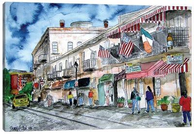 Savannah River Street Painting Canvas Art Print