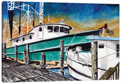 Shrimp Boats II Canvas Art Print