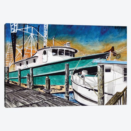 Shrimp Boats II 3-Piece Canvas #DMC75} by Derek McCrea Canvas Art Print