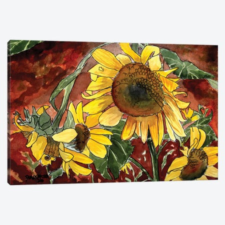Sunflowers 3-Piece Canvas #DMC79} by Derek McCrea Canvas Artwork