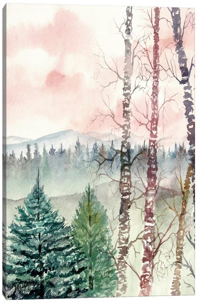 Birch Trees, Winter Landscape Canvas Art Print