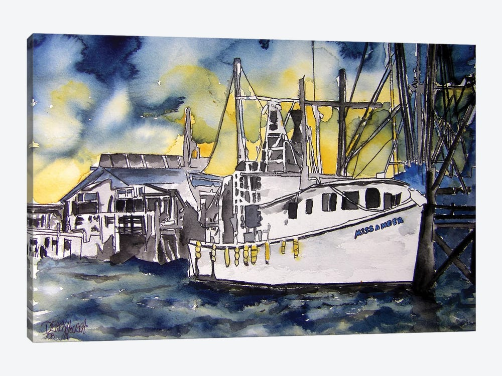 Tybee Island Boat 1-piece Canvas Artwork