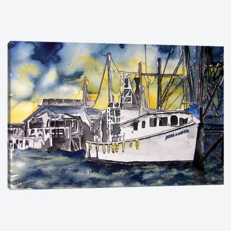 Tybee Island Boat 3-Piece Canvas #DMC86} by Derek McCrea Canvas Wall Art