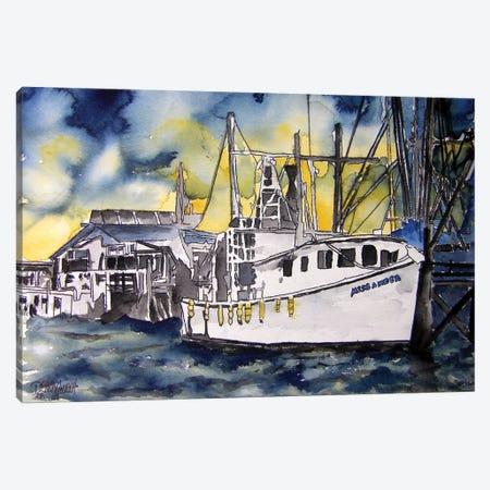 Tybee Island Boat Canvas Print #DMC86} by Derek McCrea Canvas Wall Art