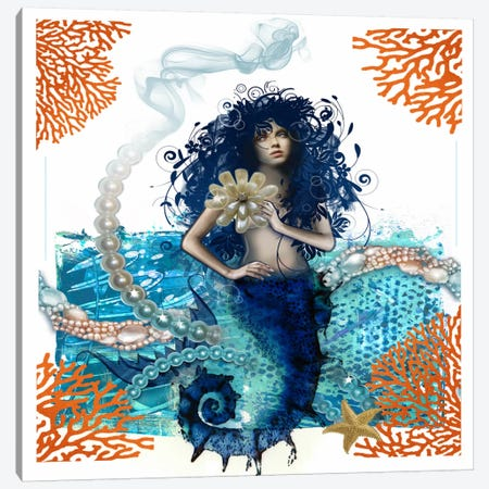 Mermaid Canvas Print #DME12} by Darlene McElroy Canvas Artwork