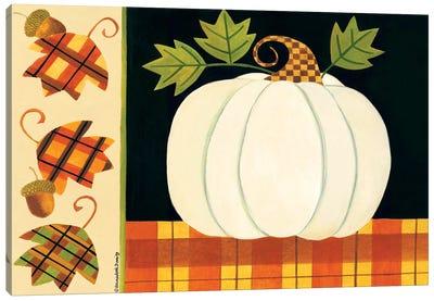 White Pumpkin, Leaves And Acorns Canvas Art Print