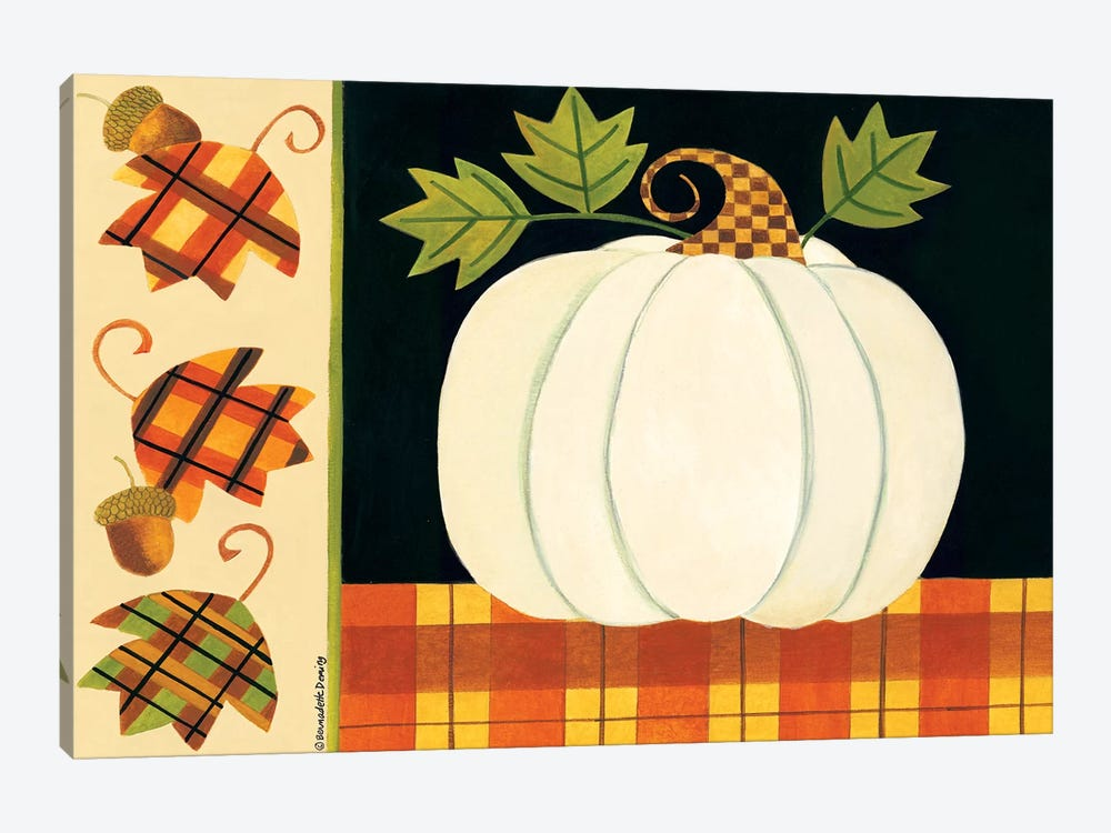 White Pumpkin, Leaves And Acorns by Bernadette Deming 1-piece Canvas Print