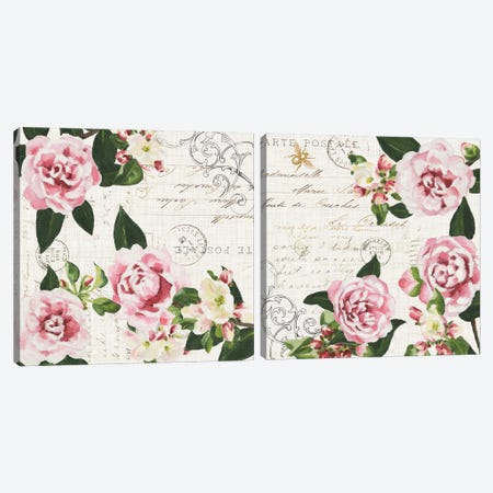 Ephemeral Roses Diptych Canvas Print Set #DMI2HSET001} by Dianne Miller Canvas Wall Art