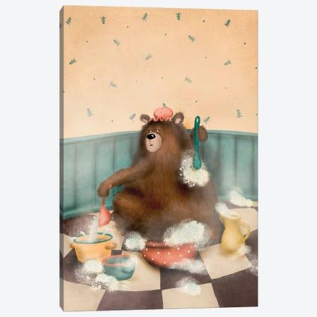 The Bear Is Washing Canvas Print #DMK38} by Anna Demchenko Canvas Artwork