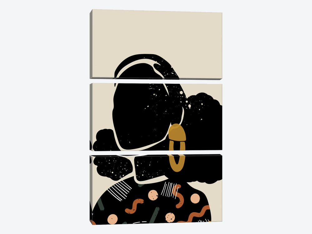 Black Hair IV by Domonique Brown 3-piece Canvas Art Print