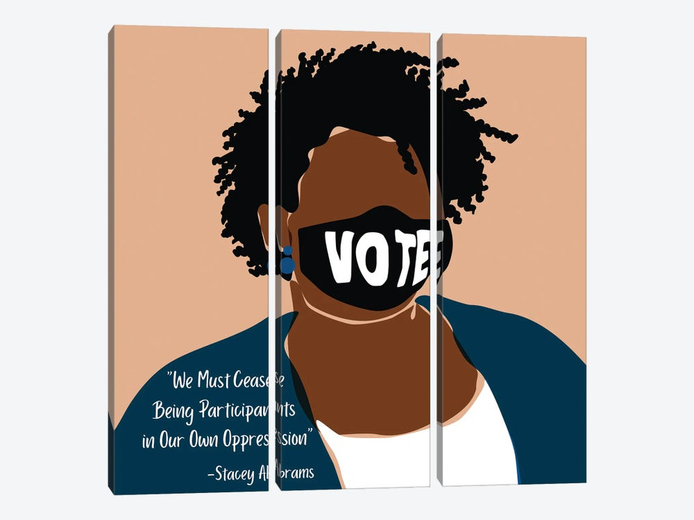 Stacey Abrams by Domonique Brown 3-piece Canvas Wall Art