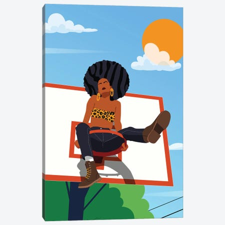 Afro And Hoops Canvas Print #DMQ158} by Domonique Brown Canvas Artwork