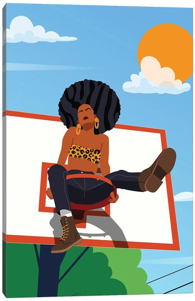 Afro And Hoops Canvas Art Print