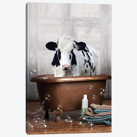 Cow In A Bathtub Canvas Print #DMQ182} by Domonique Brown Art Print