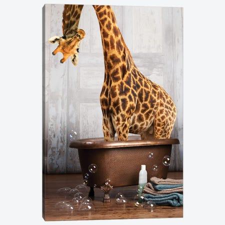 Giraffe In The Tub Canvas Print #DMQ190} by Domonique Brown Canvas Artwork