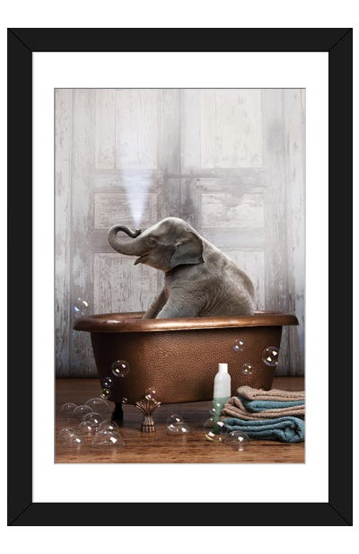 Elephant In The Tub Framed Art Print