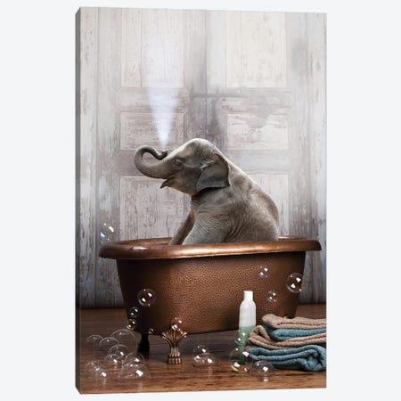 Elephant In The Tub Canvas Print #DMQ28} by Domonique Brown Canvas Art Print