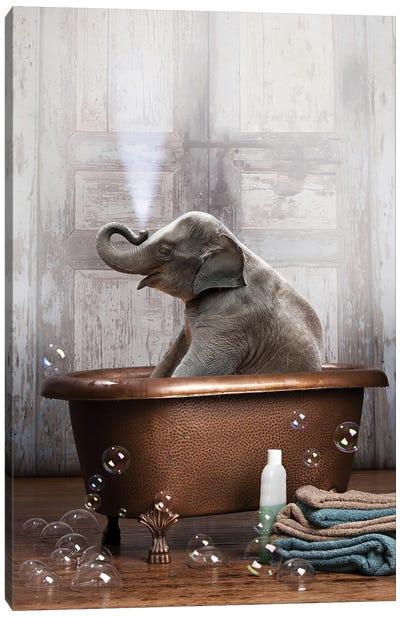 Elephant In The Tub Canvas Art Print
