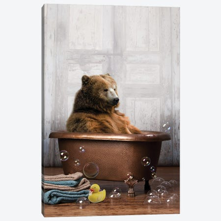 Bear In The Tub Canvas Print #DMQ29} by Domonique Brown Art Print