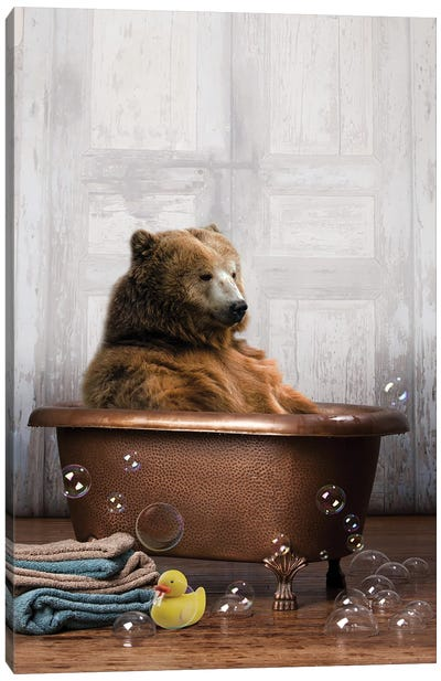 Bear In The Tub Canvas Art Print