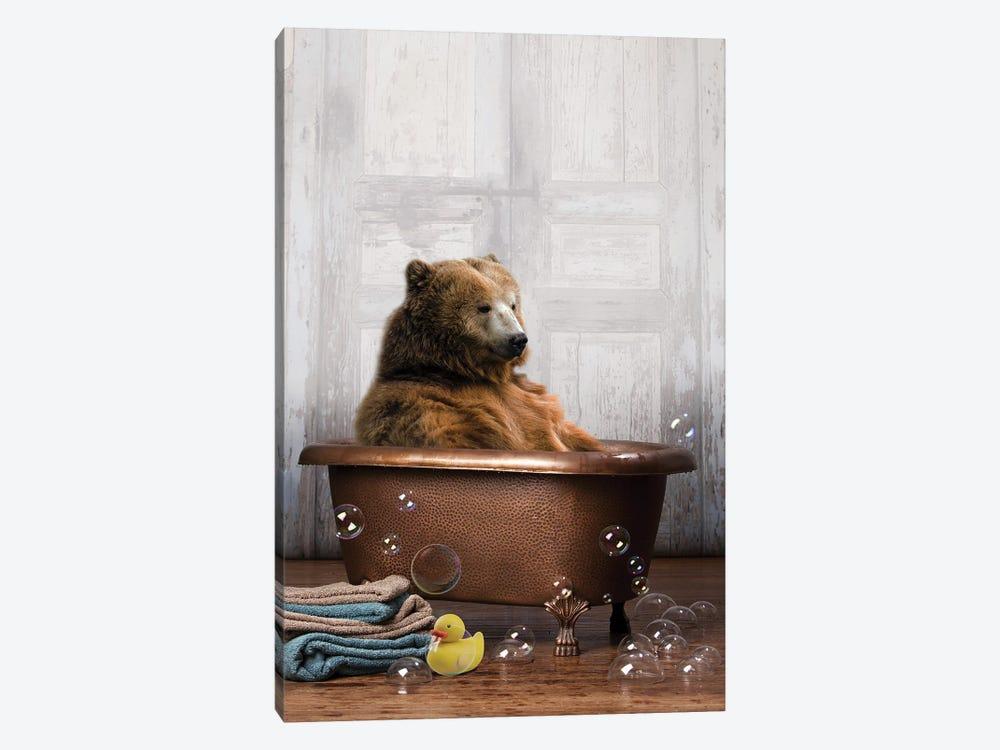 Bear In The Tub by Domonique Brown 1-piece Canvas Art Print