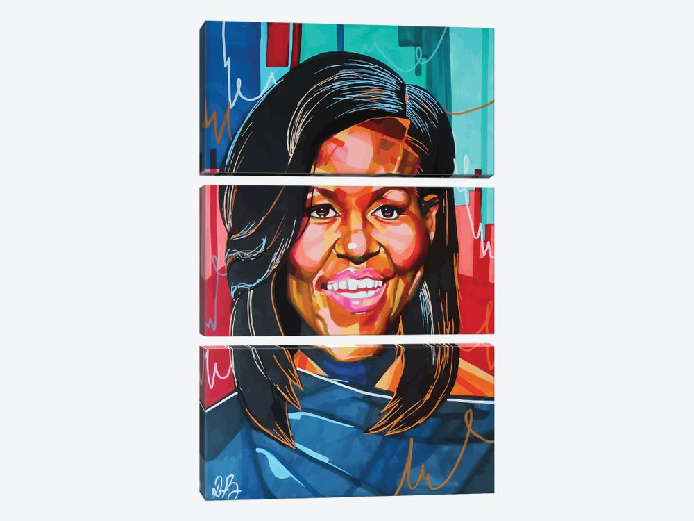 Michelle Obama by Domonique Brown 3-piece Canvas Wall Art