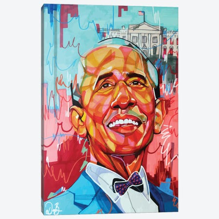 Barack Obama Canvas Print #DMQ34} by Domonique Brown Art Print