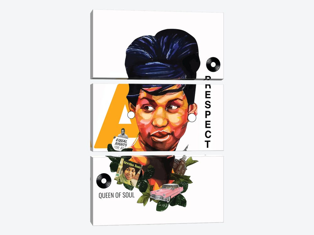 Aretha Franklin by Domonique Brown 3-piece Art Print