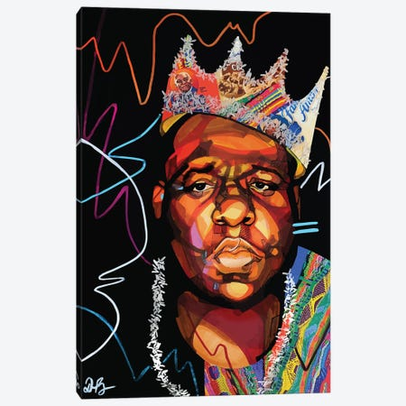 Biggie Smalls Canvas Print #DMQ47} by Domonique Brown Canvas Artwork