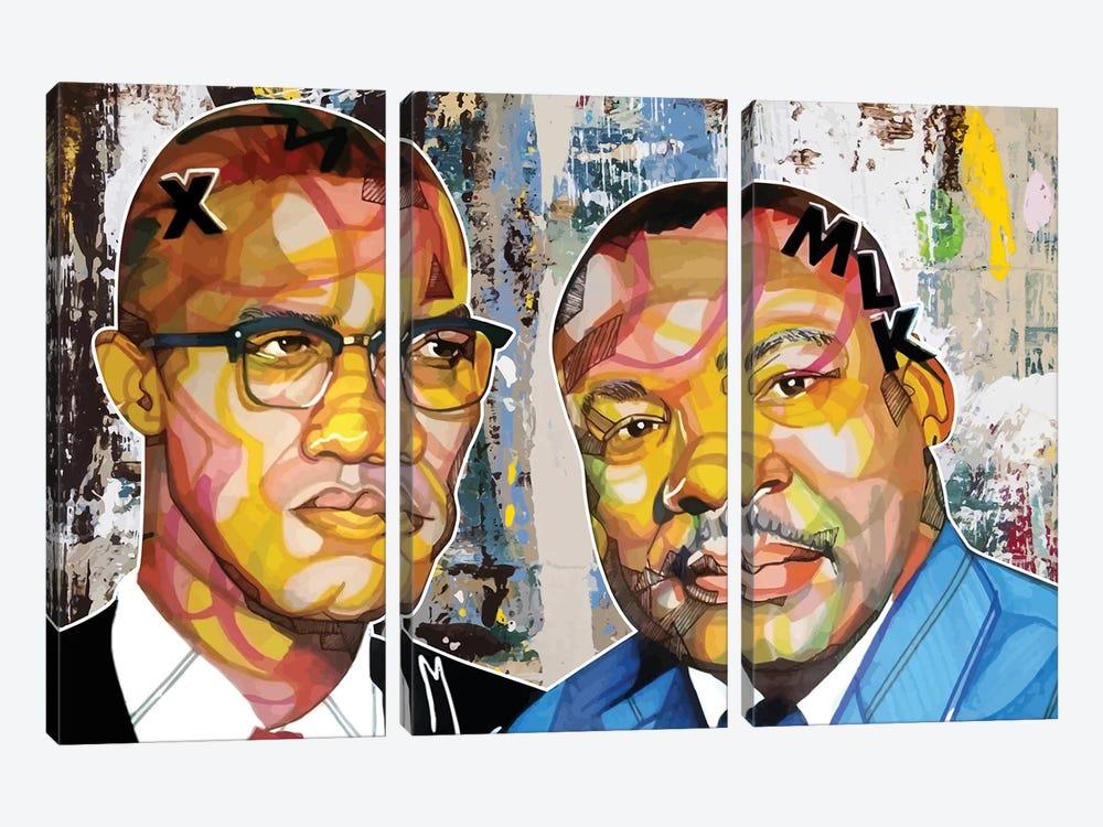 Malcolm X Martin by Domonique Brown 3-piece Art Print