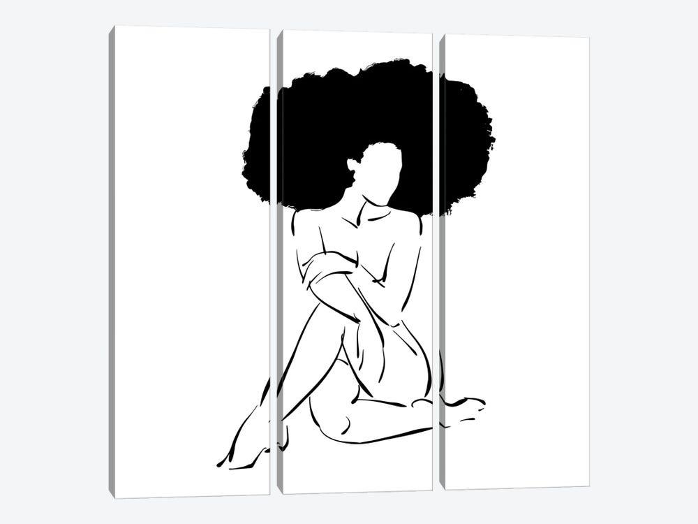 Nude in Black No. 3 by Domonique Brown 3-piece Canvas Artwork